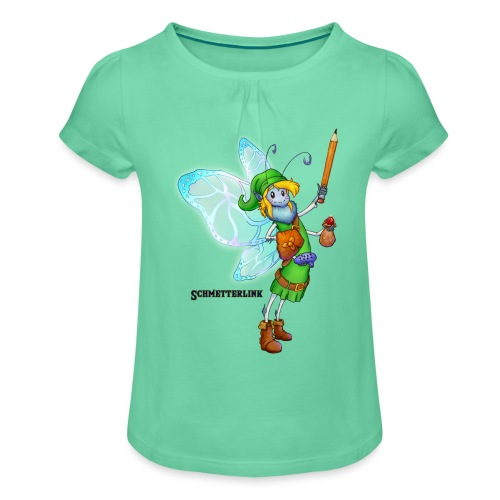Schmetterlink - Mädchen-T-Shirt mit Raffungen