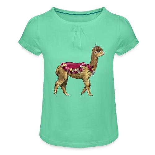 VINTAGE LAMA BLOEMEN - Meisjes-T-shirt met plooien
