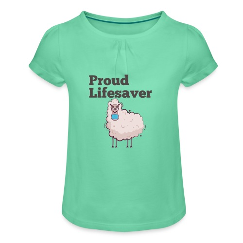 Schlafschafe retten Leben mit Mundschutz - Mädchen-T-Shirt mit Raffungen