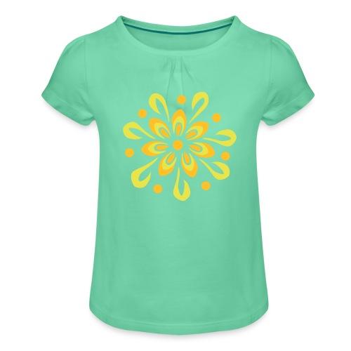flowerpower - Mädchen-T-Shirt mit Raffungen