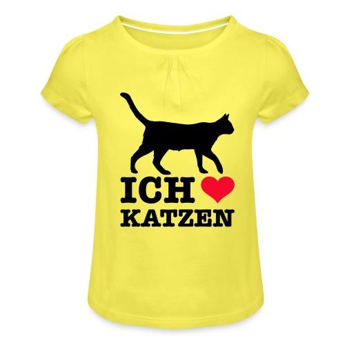 Ich liebe Katzen mit Katzen-Silhouette - Mädchen-T-Shirt mit Raffungen