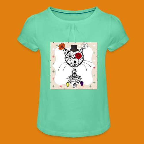 cat color - Girl's T-Shirt with Ruffles