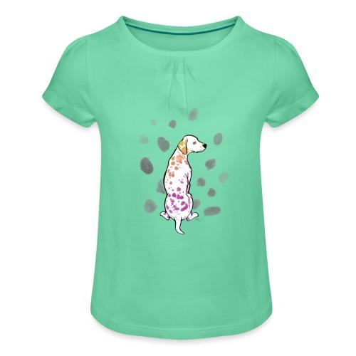 Dalmatiner bunt 02 - Mädchen-T-Shirt mit Raffungen
