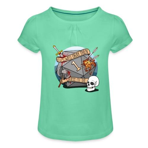 Arvelen kuolen - DND D & D Dungeons and Dragons - Tyttöjen t-paita, jossa rypytyksiä