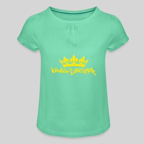 Königstochter m. Krone über der stylischen Schrift - Mädchen-T-Shirt mit Raffungen