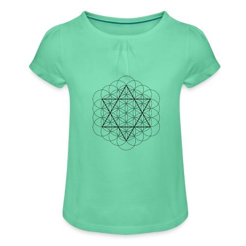 Flower of life and David Star - Pige T-shirt med flæser