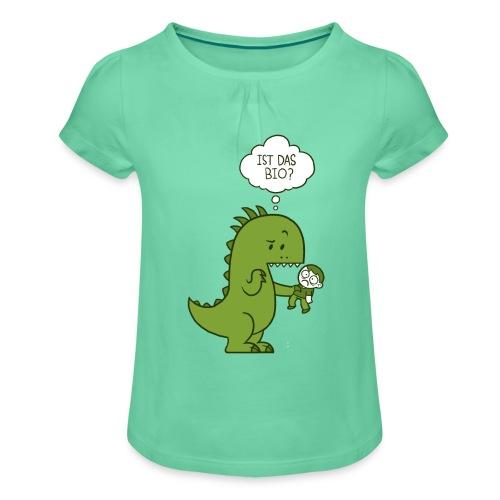 Bio-Dinosaurier - Mädchen-T-Shirt mit Raffungen