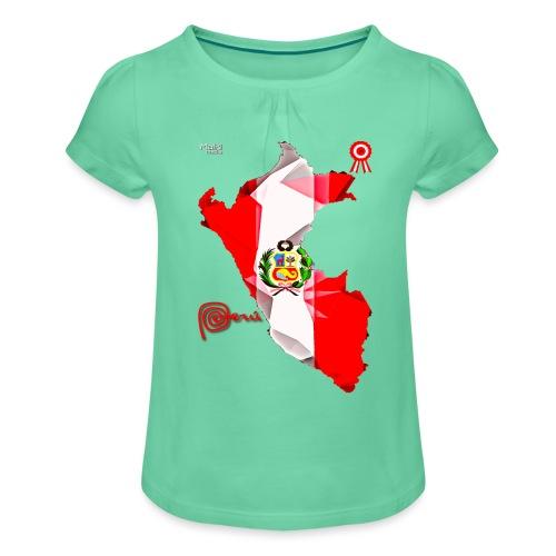 Mapa del Peru, Bandera und Escarapela - Mädchen-T-Shirt mit Raffungen