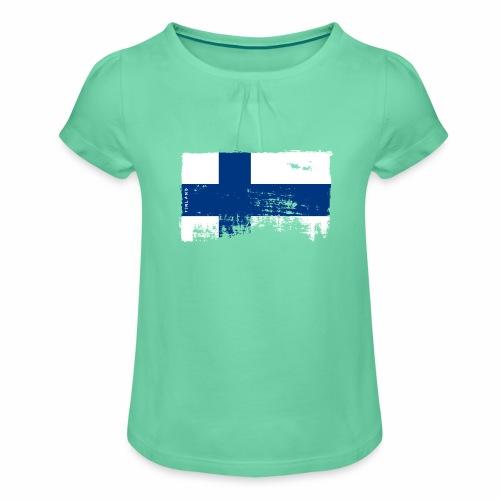 Suomen lippu, Finnish flag T-shirts 151 Products - Tyttöjen t-paita, jossa rypytyksiä