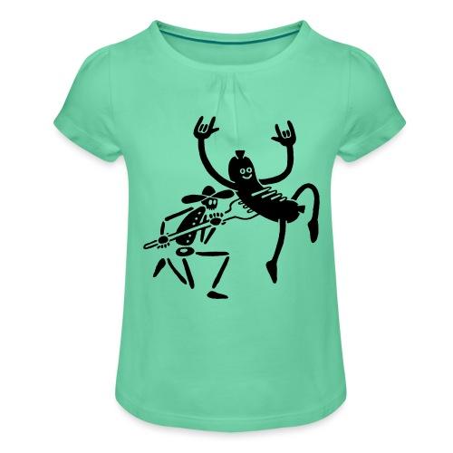 Wurst und Kauboi - Mädchen-T-Shirt mit Raffungen