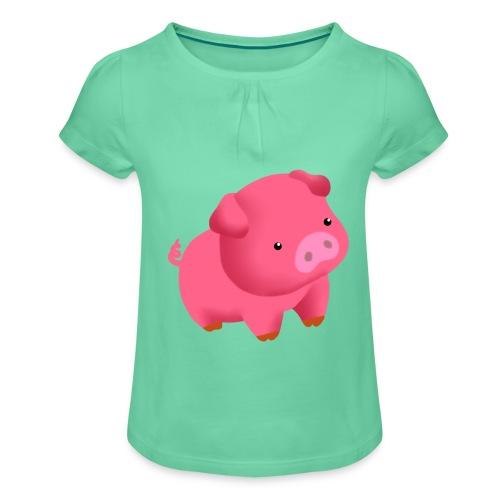 Camisa Cerdito - Camiseta para niña con drapeado
