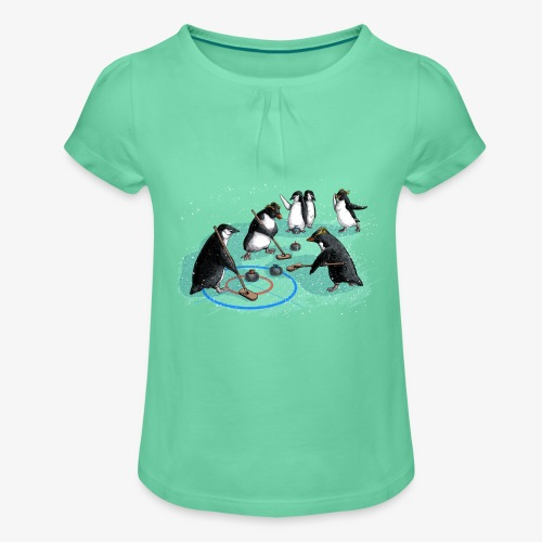 Penguins curling - Girl's T-Shirt with Ruffles