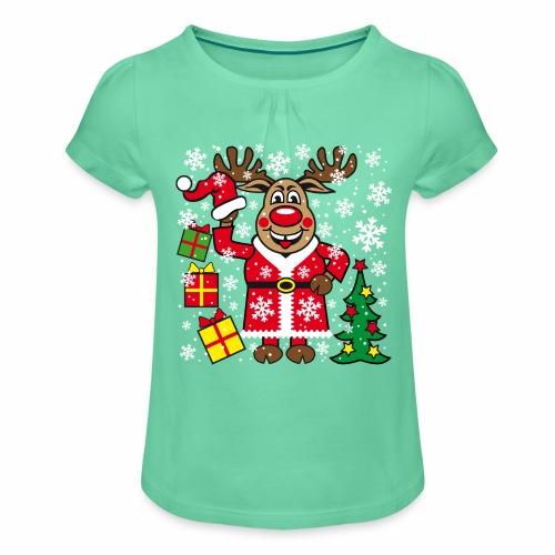 76 Hirsch Rudolph Weihnachtsbaum Geschenke - Mädchen-T-Shirt mit Raffungen