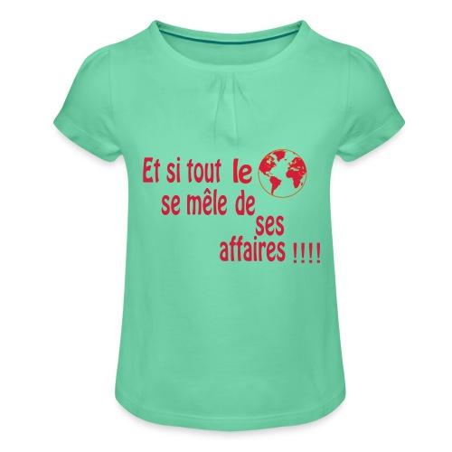 BNT création - T-shirt à fronces au col Fille