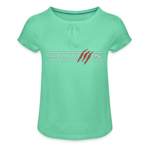 Logo Wit - Meisjes-T-shirt met plooien