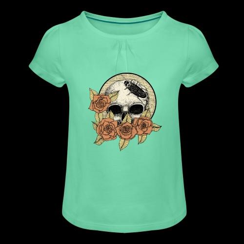 Rose et tête de mort - T-shirt à fronces au col Fille