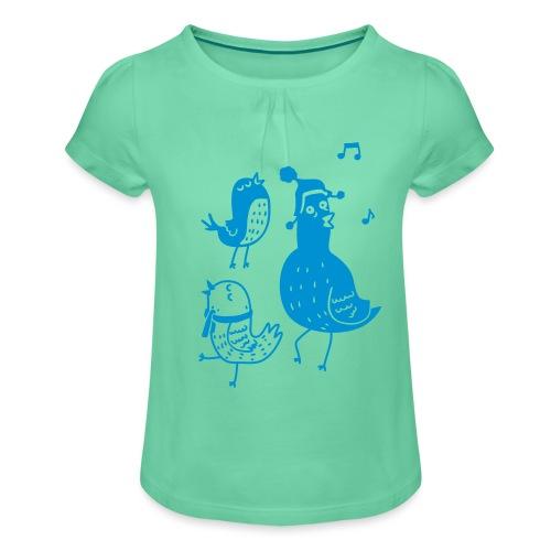 Vögelchen - Mädchen-T-Shirt mit Raffungen