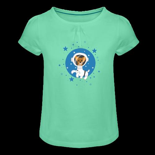 Kleiner Hund im Weltall - Mädchen-T-Shirt mit Raffungen