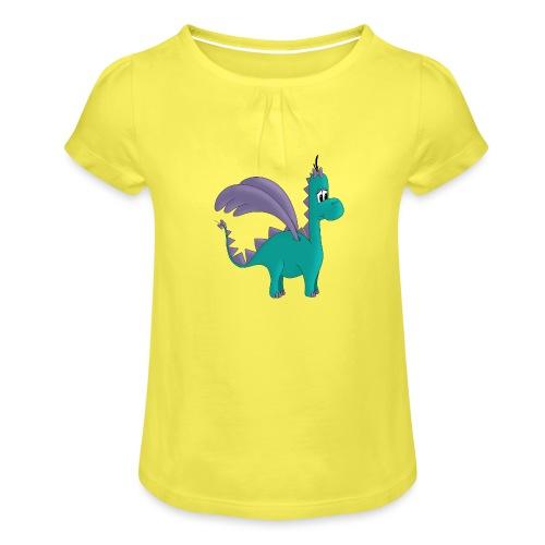 Drachenmädchen Ellie - Mädchen-T-Shirt mit Raffungen