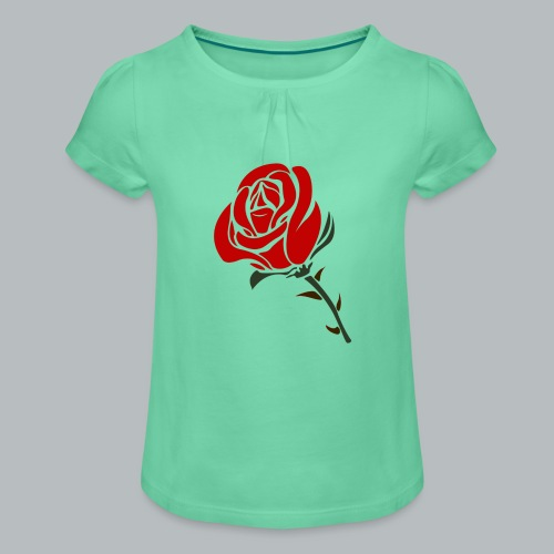 Ros - T-shirt med rynkning flicka