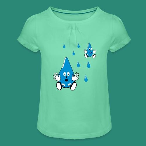 Tropfen - Mädchen-T-Shirt mit Raffungen