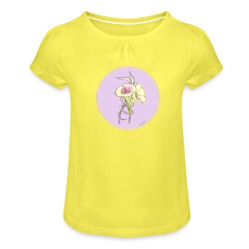 spreadshirt_nightshade - Mädchen-T-Shirt mit Raffungen