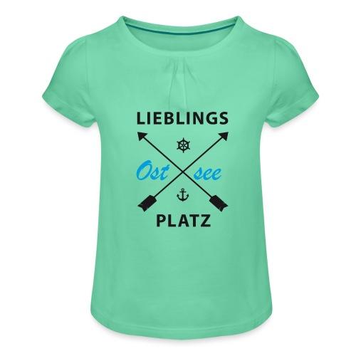 Lieblingsplatz Ostsee - Mädchen-T-Shirt mit Raffungen