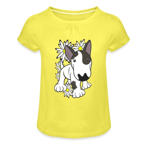 Bull Terrier Pup Daisies - Girl's T-Shirt with Ruffles