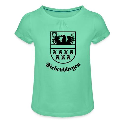 Siebenbürgen-Wappen Siebenbürgen sw - Mädchen-T-Shirt mit Raffungen