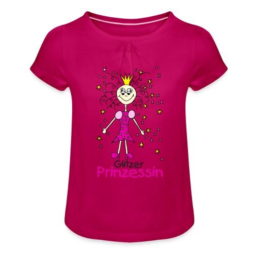 Glitzer Prinzessin - Mädchen-T-Shirt mit Raffungen