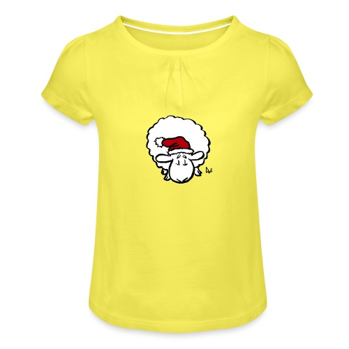 Santa Sheep (red) - Girl's T-Shirt with Ruffles