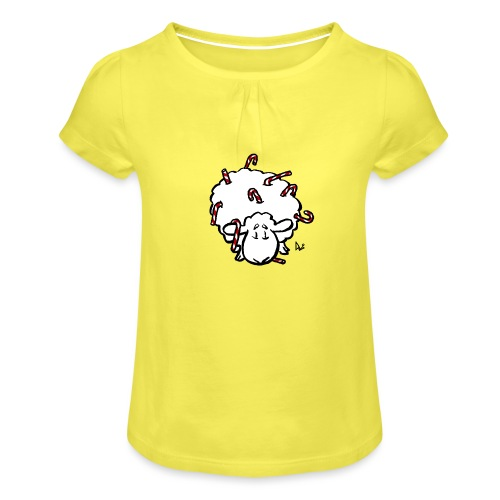 Candy Cane Sheep - Girl's T-Shirt with Ruffles