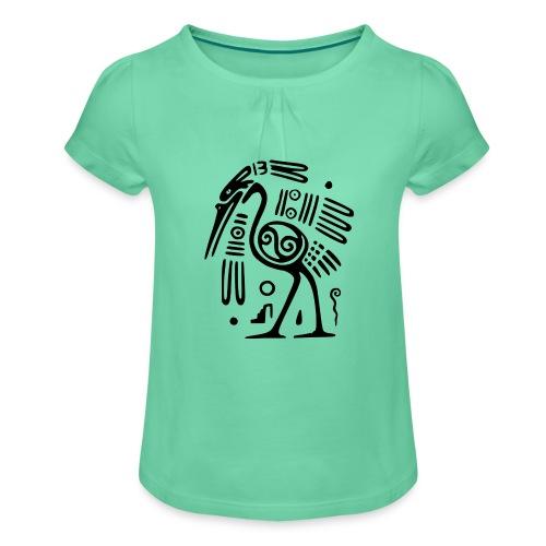 Kranich - Mädchen-T-Shirt mit Raffungen