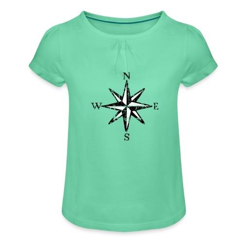 Windrose Segel Segeln Segler Vintage Schwarz-Weiß - Mädchen-T-Shirt mit Raffungen