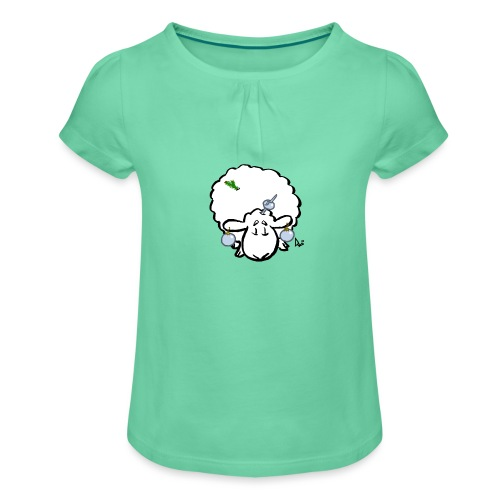 Weihnachtsbaumschaf - Mädchen-T-Shirt mit Raffungen
