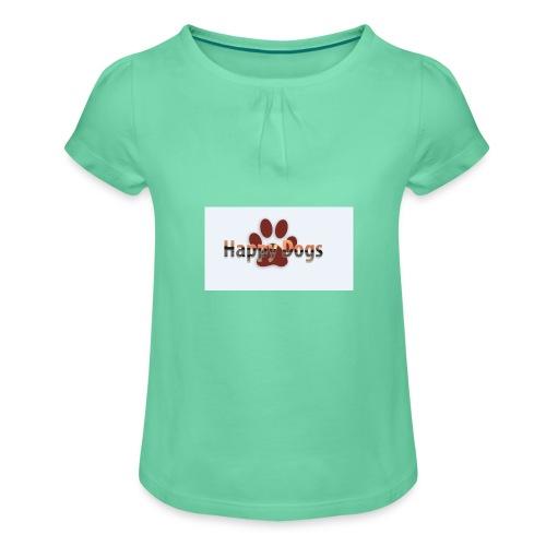 Happy dogs - Mädchen-T-Shirt mit Raffungen