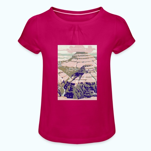 Rocky Mountains Vintage Travel Poster - Girl's T-Shirt with Ruffles
