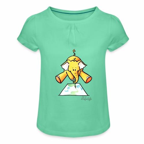 Ellafant malt Klangbild mit Stift - Mädchen-T-Shirt mit Raffungen