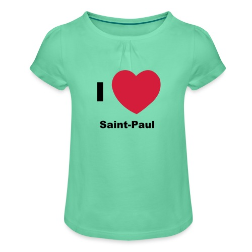 i love sainte paul - T-shirt à fronces au col Fille
