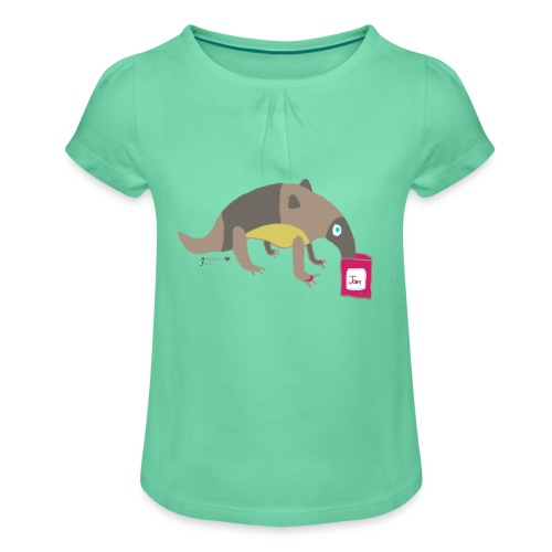 Anteater loves jam - Girl's T-Shirt with Ruffles