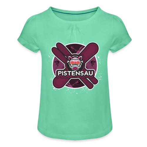 PistenSau Lachshimmel - Mädchen-T-Shirt mit Raffungen
