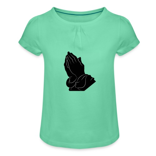 Pray logo - Mädchen-T-Shirt mit Raffungen