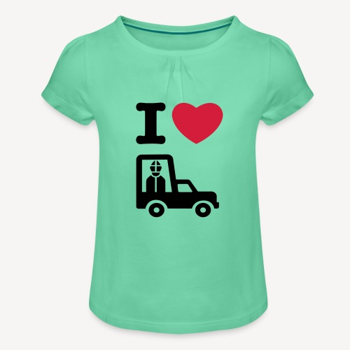 Papst im Auto - Girl's T-Shirt with Ruffles