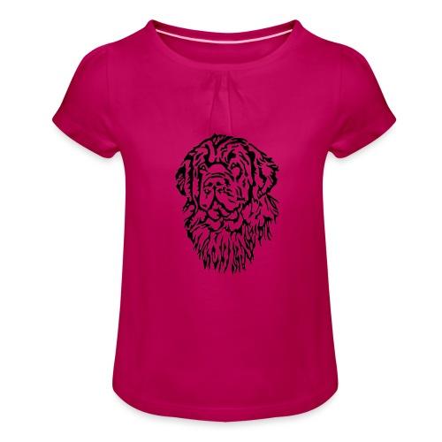 Neufundländer Kopf - Mädchen-T-Shirt mit Raffungen
