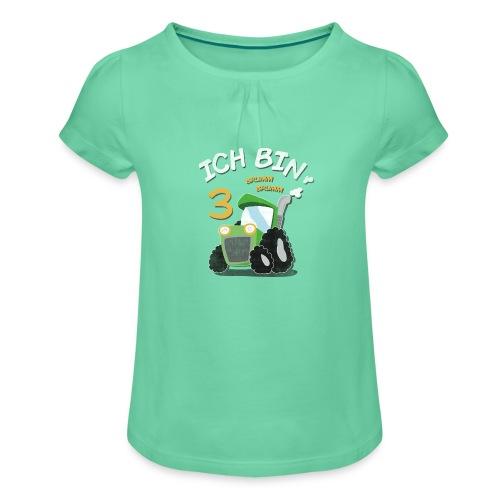 Kinder 3. Geburtstags Traktor Junge Shirt - Mädchen-T-Shirt mit Raffungen