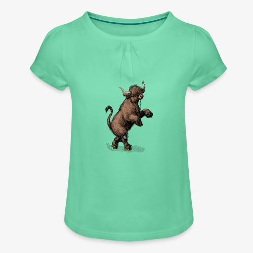 Highland Cow on roller skates - Girl's T-Shirt with Ruffles