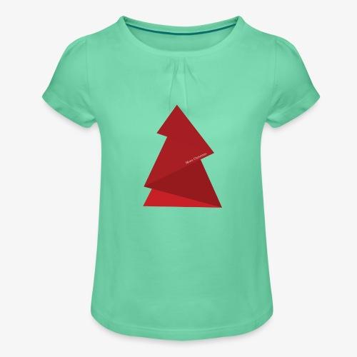 red triangles fir - Girl's T-Shirt with Ruffles