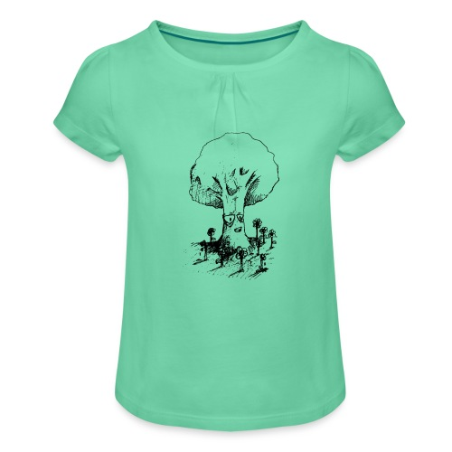 Sage Tree - Girl's T-Shirt with Ruffles