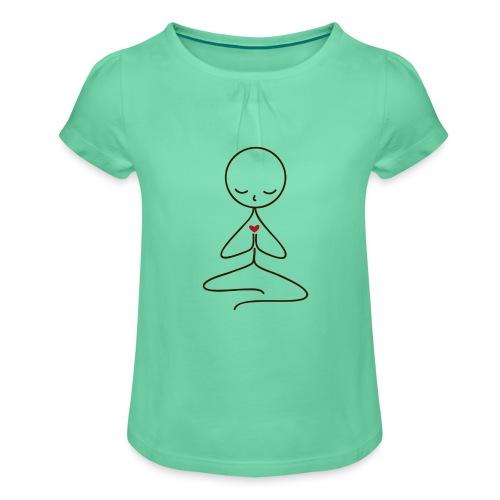 Peace & Love - T-shirt med rynkning flicka