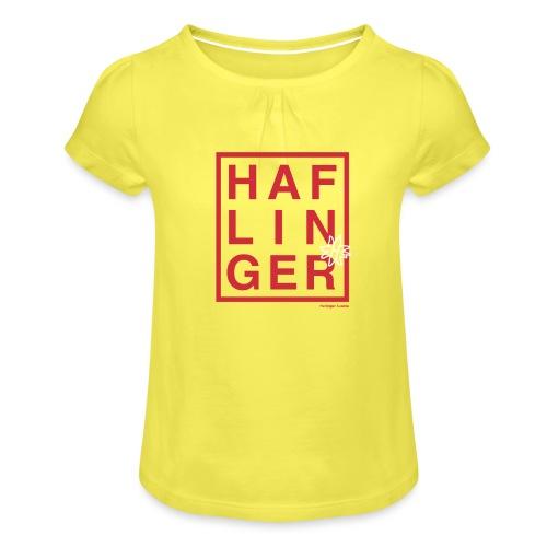 Haflinger Schriftzug / Pferd - Mädchen-T-Shirt mit Raffungen